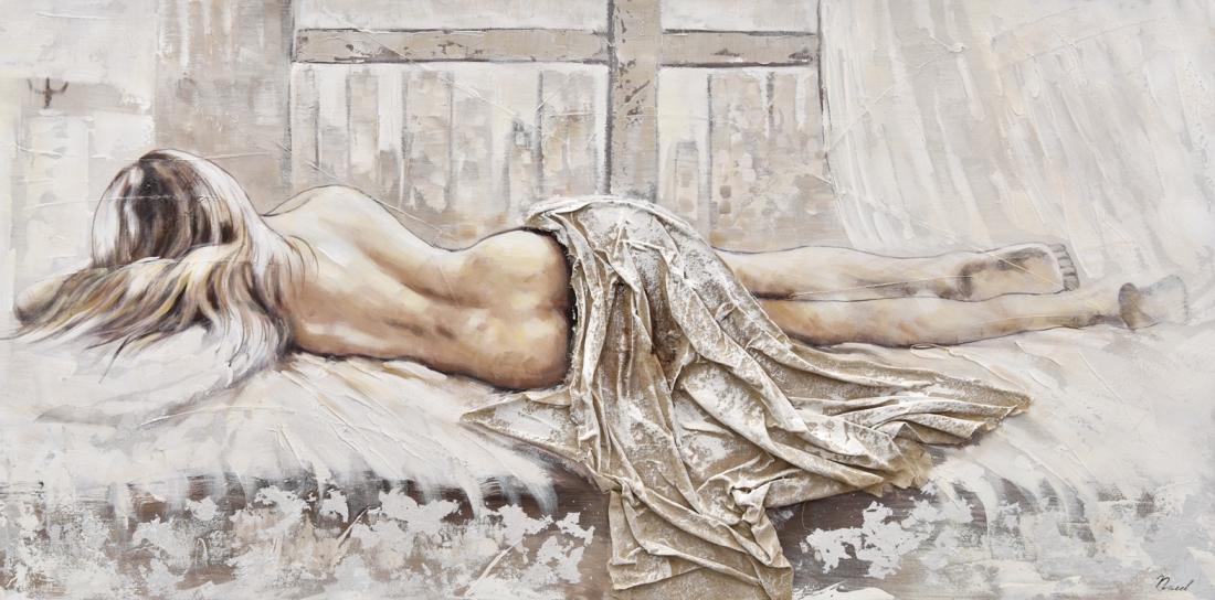 Schilderij liggende vrouw 70x140