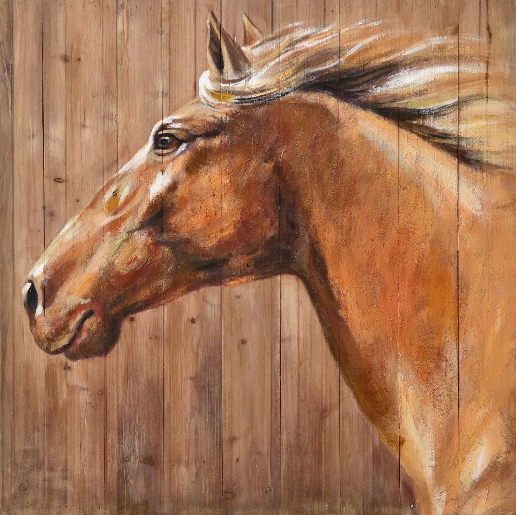 Schilderij paard op hout 70x70