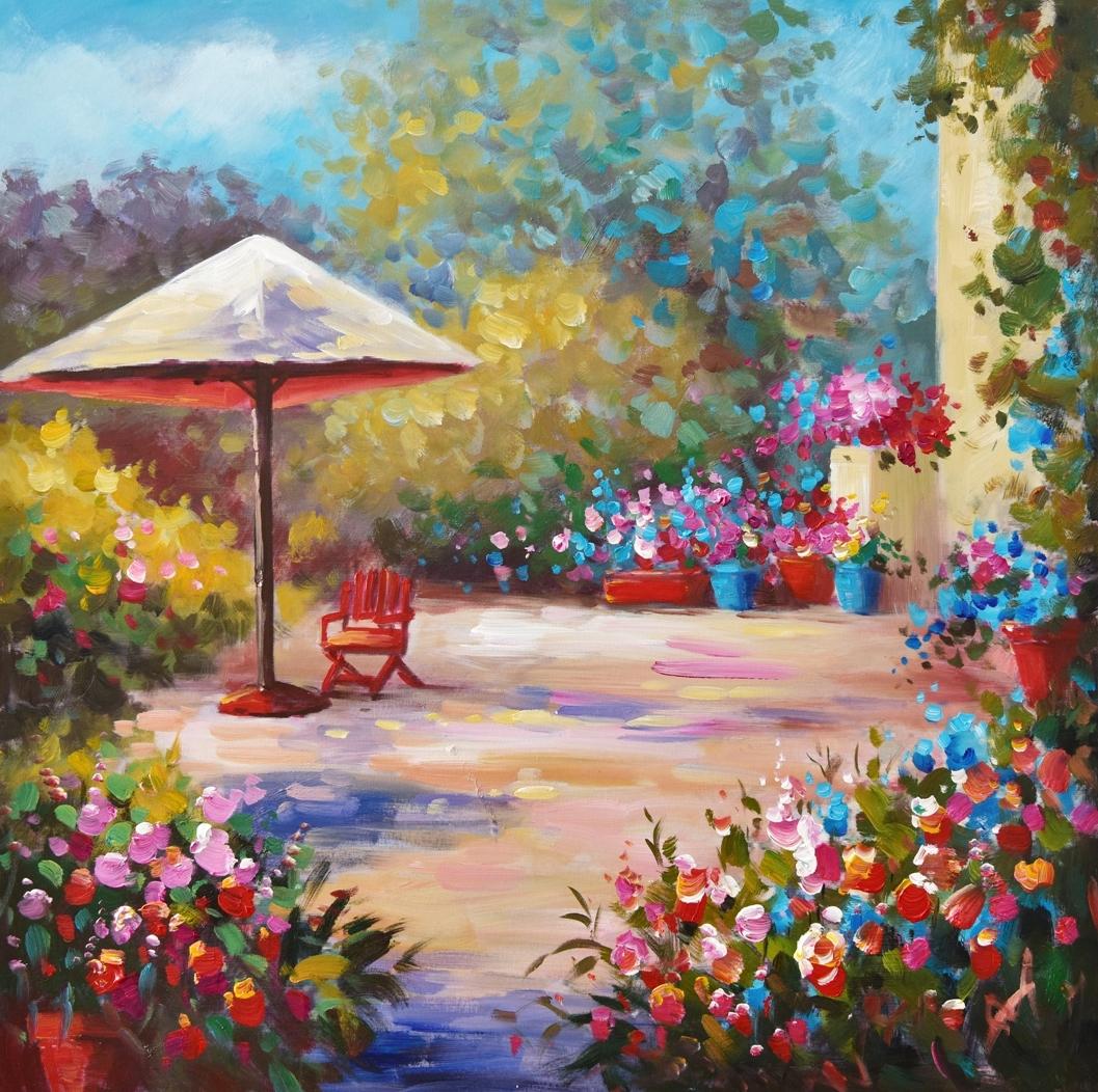 Schilderij kleurrijk terras 74x74