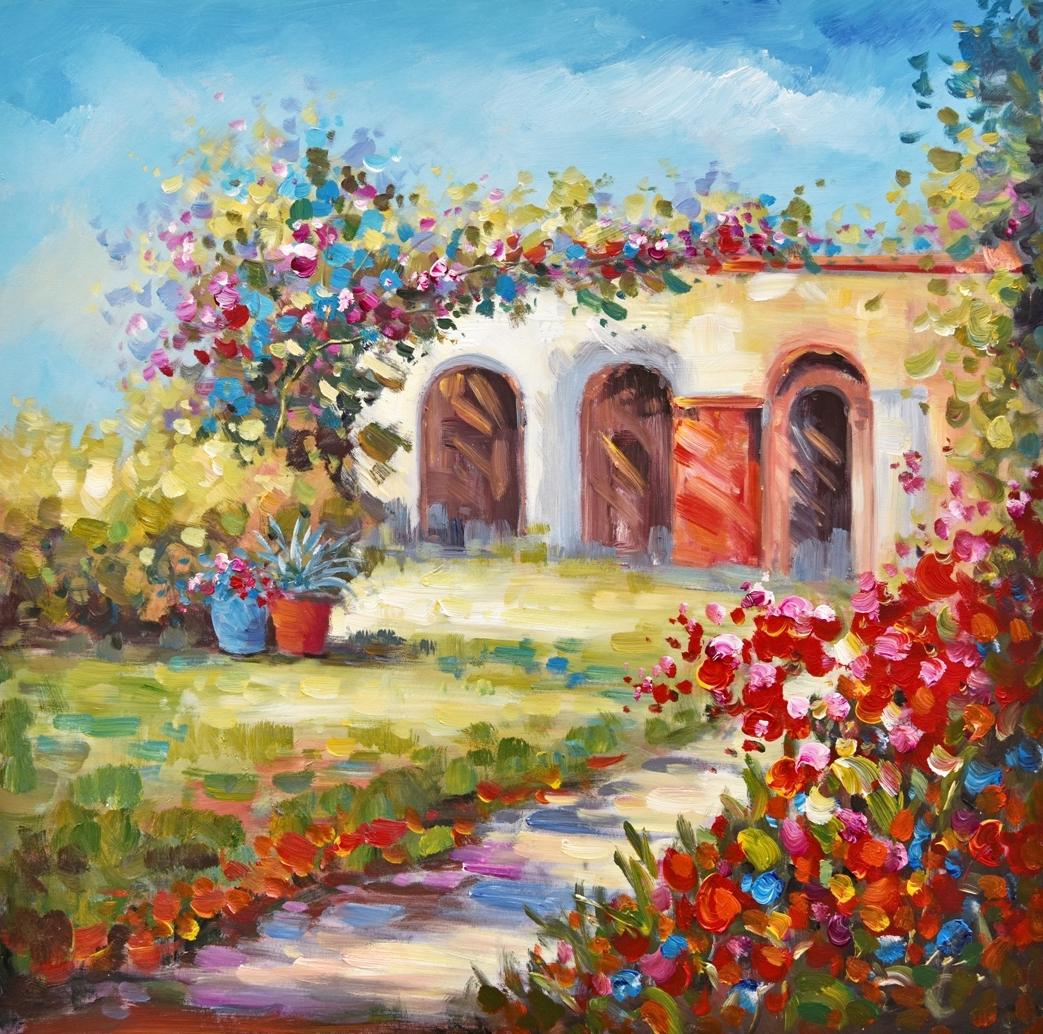 Schilderij kleurrijk landschap 74x74