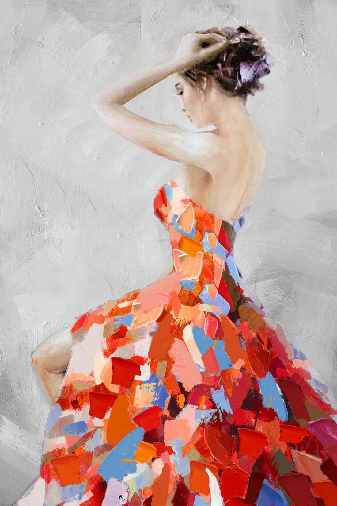 Schilderij vrouw met jurk 74x100