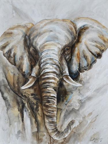 Schilderij olifant 74x100