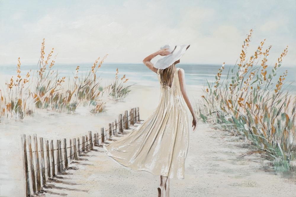 Schilderij vrouw aan strand 74x100