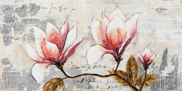 Schilderij bloemen 60x120