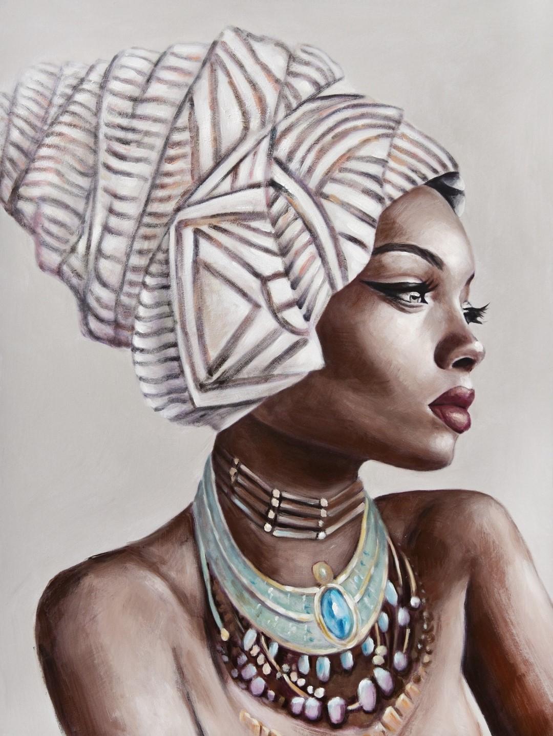 Schilderij afrikaanse vrouw 74x100