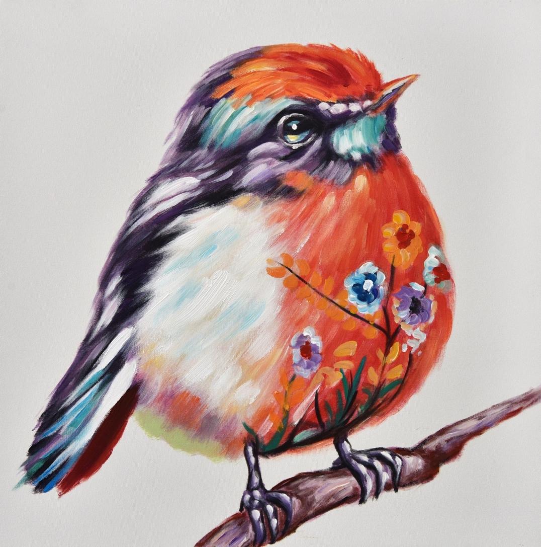 Schilderij vogeltje 60x60