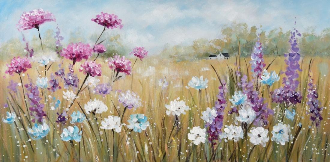 Schilderij bloemenveld 60x120