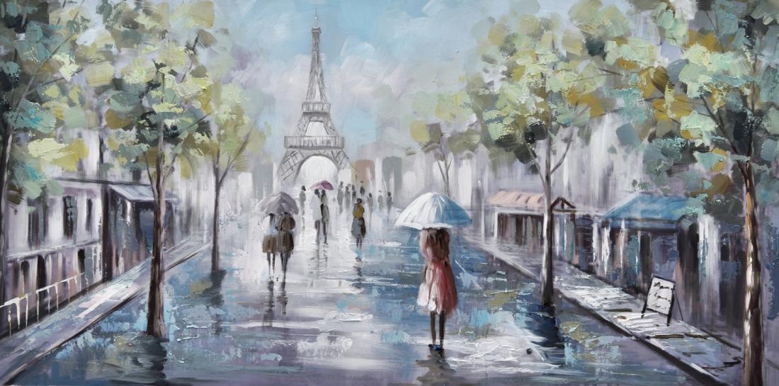 Schilderij parijs stadsgezicht 60x120