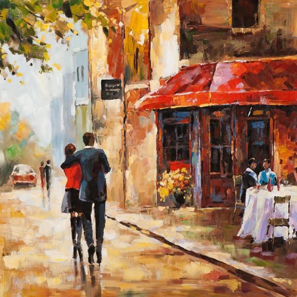 Schilderij gezellig straatje 70x70
