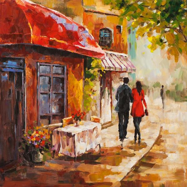 Schilderij gezellig straatje II 70x70