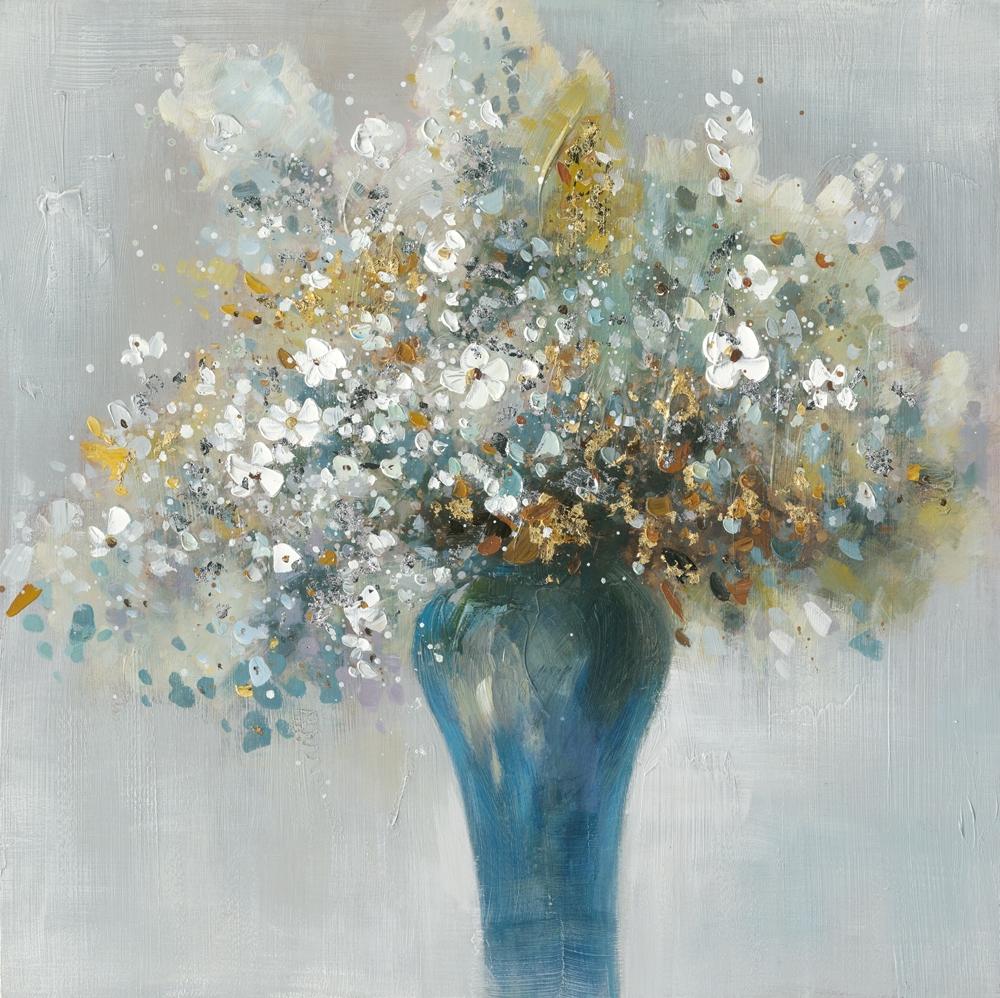 Schilderij bloem in vaas 74x74