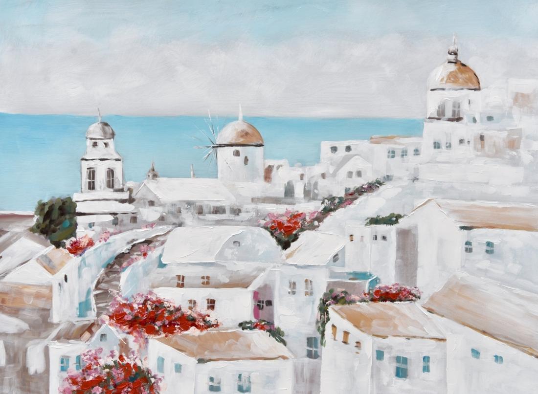 Schilderij Grieks stadsgezicht 74x100
