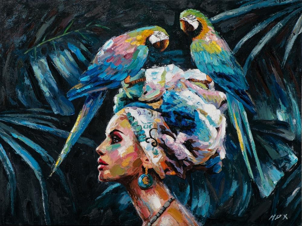 Schilderij vrouw met papegaai 74x100
