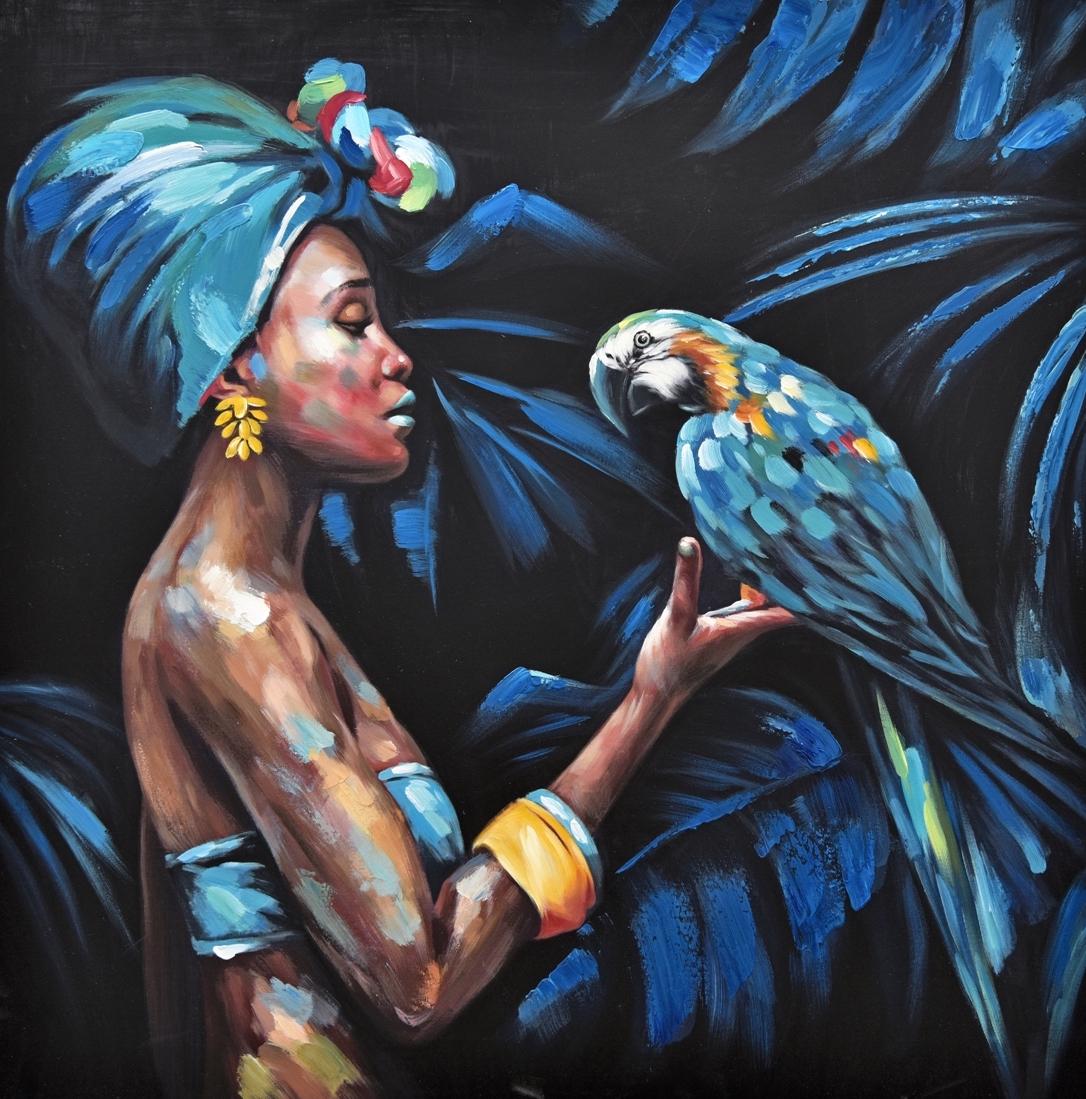 Schilderij vrouw met papegaai 100x100