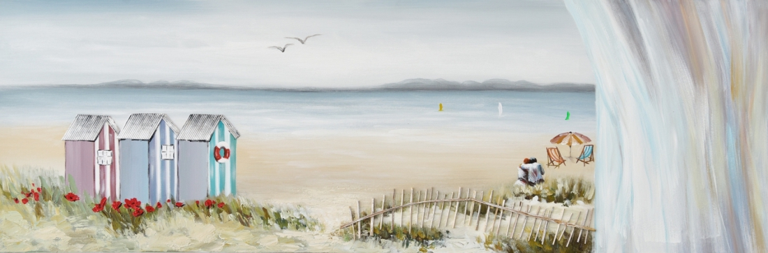 Schilderij strandhuisjes 50x150