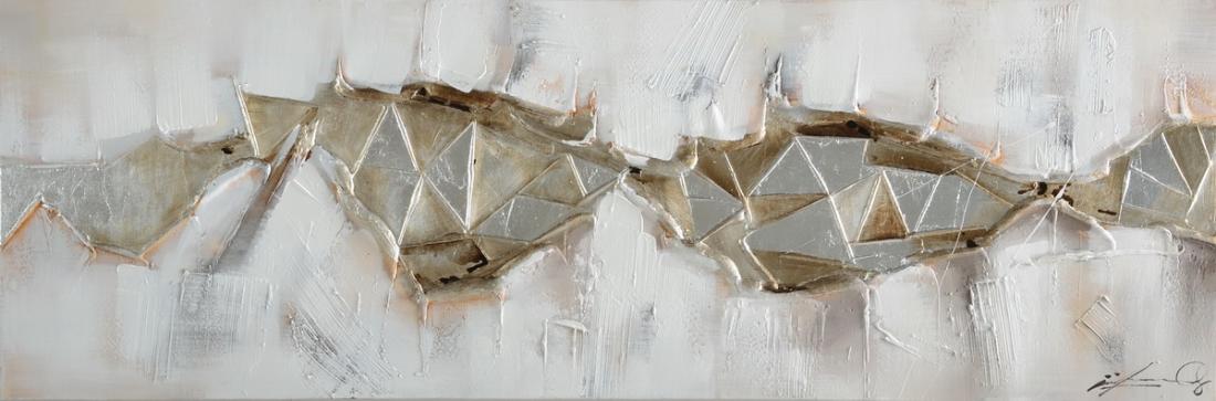 Schilderij abstract zilver 50x150