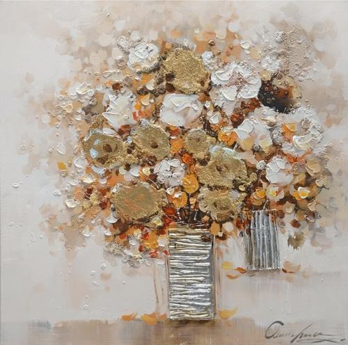 Schilderij bosje bloemen 80x80