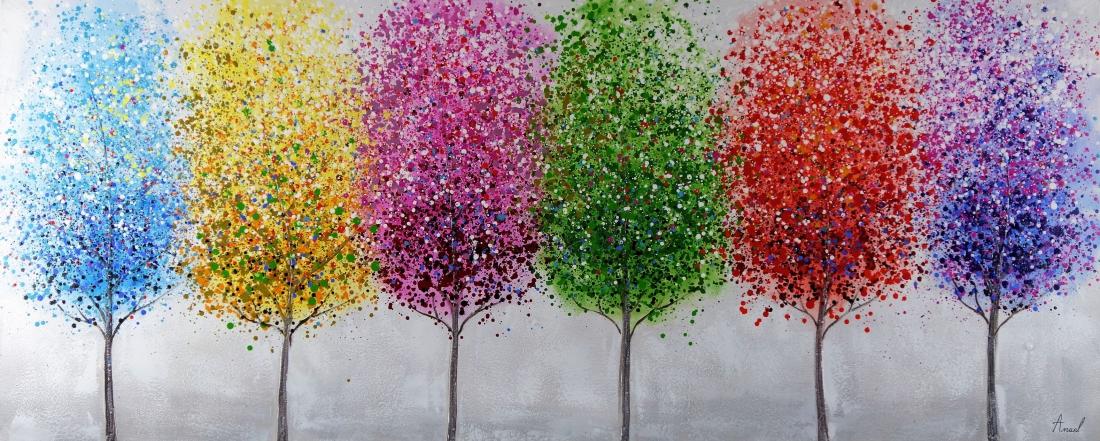 Schilderij kleurrijke bomen 70x170