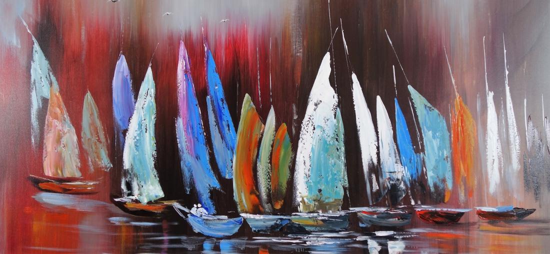 Schilderij boten 90x190
