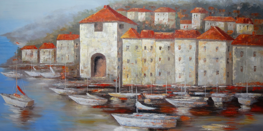 Schilderij havenaanzicht 100x200