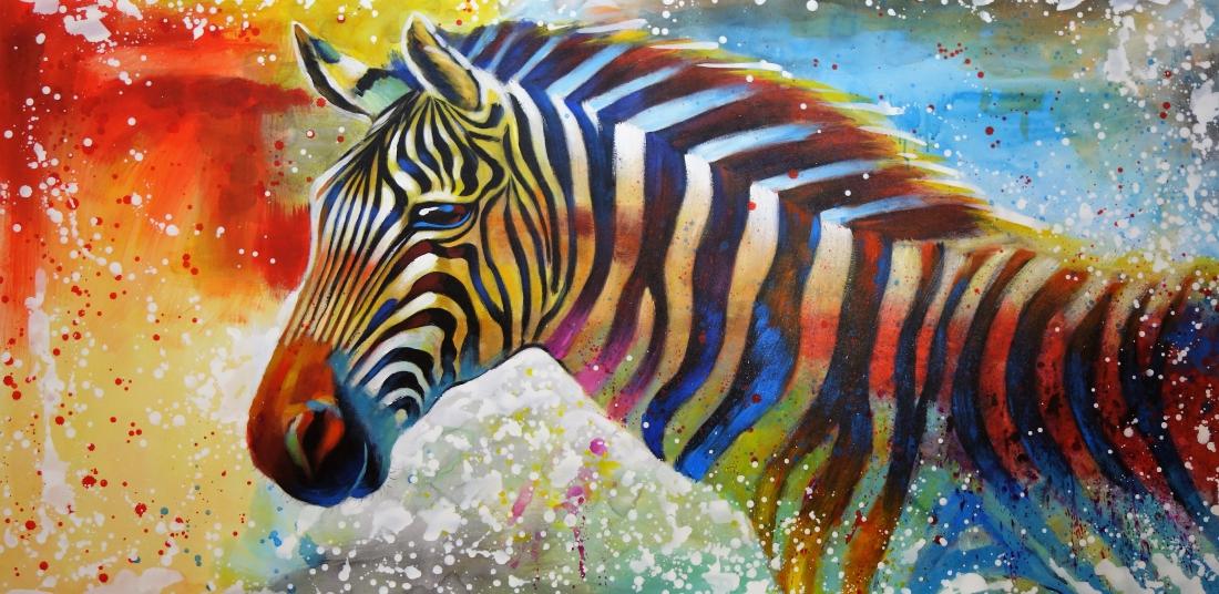 Schilderij kleurrijke zebra 100x200