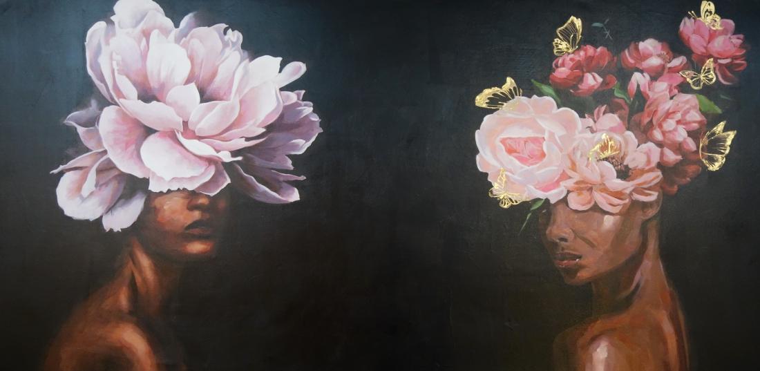 Schilderij vrouwen met bloemen 100x200
