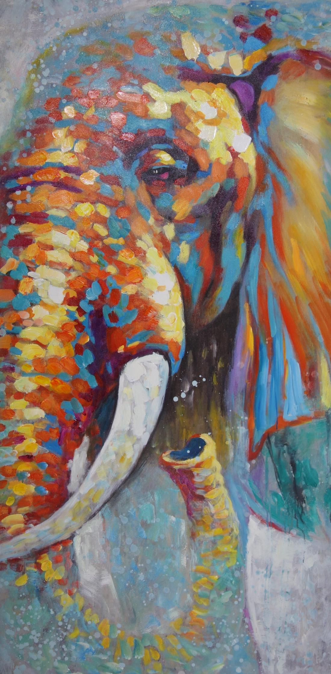 Schilderij kleurrijke olifant 200x100