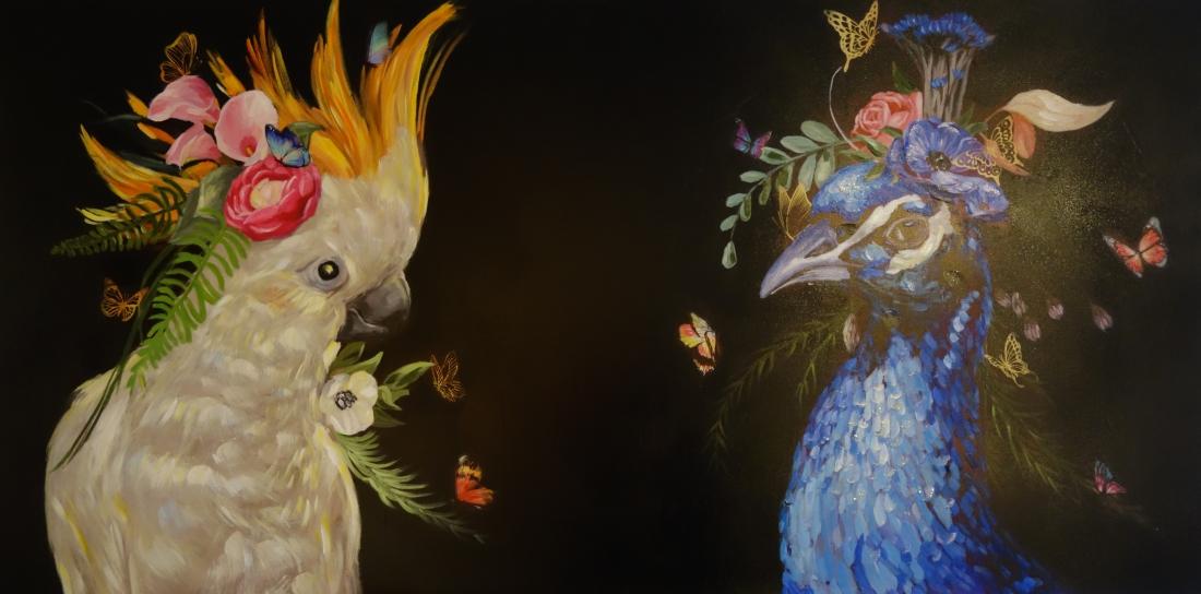 Schilderij kaketoe en pauw 100x200