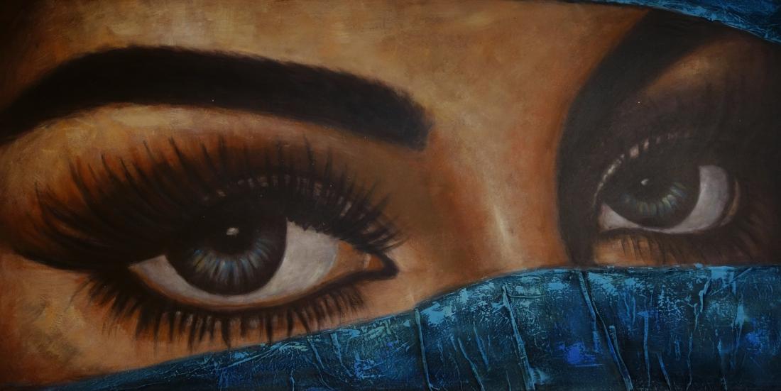 Schilderij mysterieuze ogen 100x200