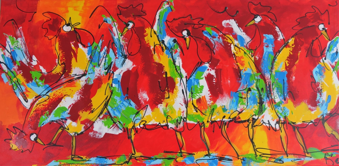 Schilderij kippen 70x140