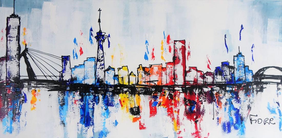 Schilderij skyline rotterdam kleurrijk 70x140