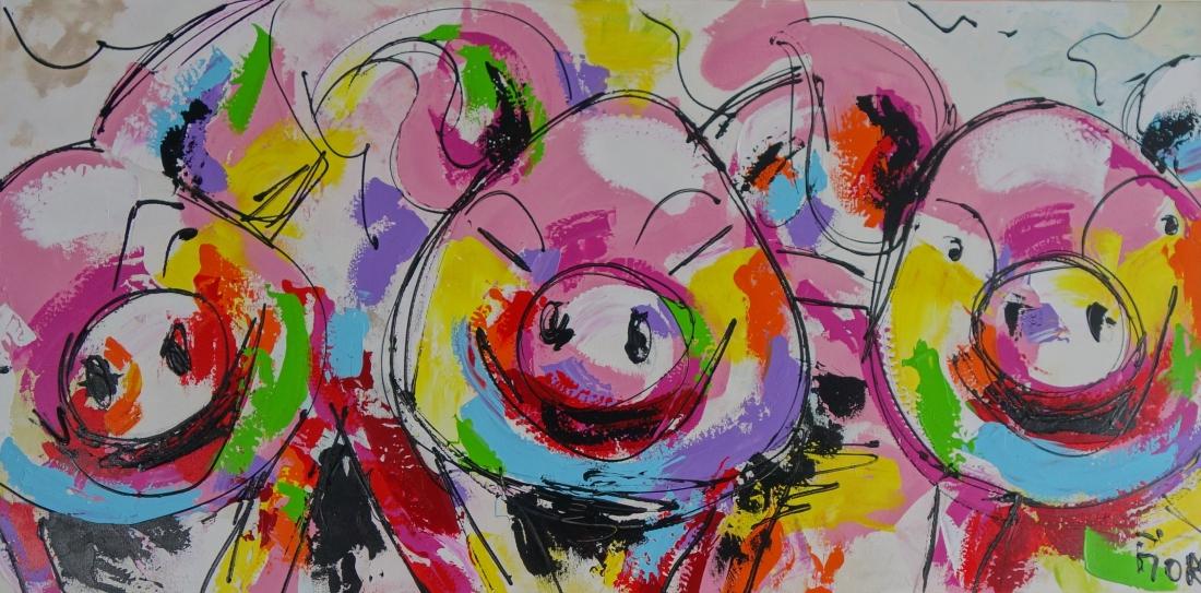 Schilderij varkens 70x140