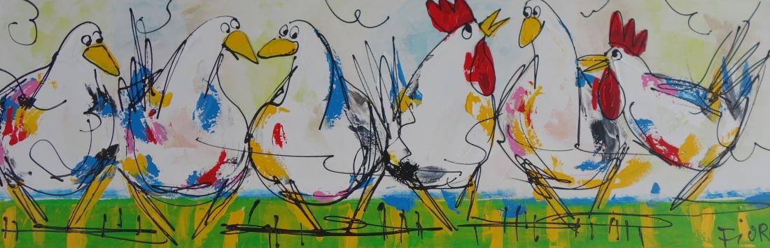 Schilderij ganzen en kippen 50x150