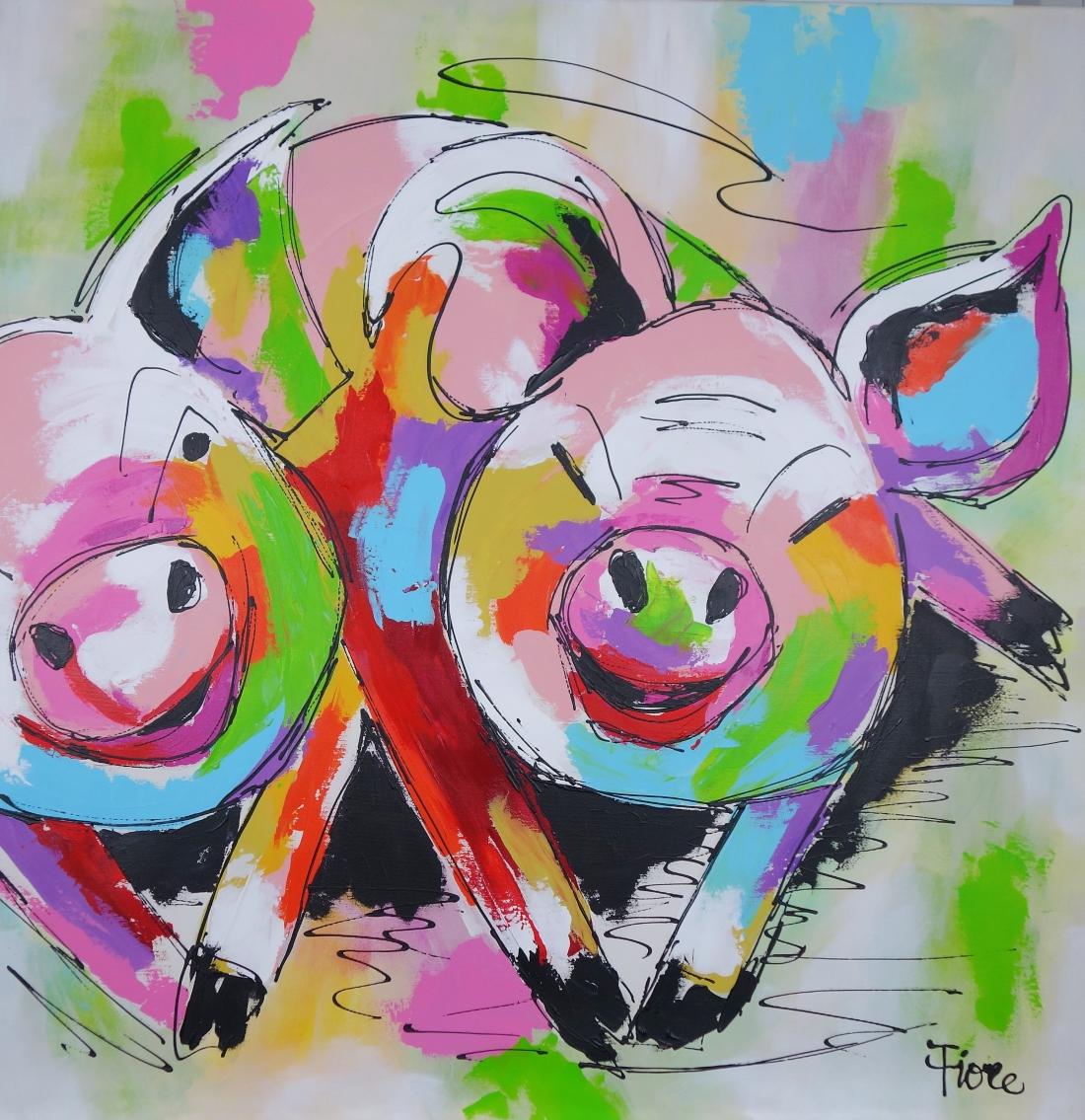 Schilderij varkens 100x100