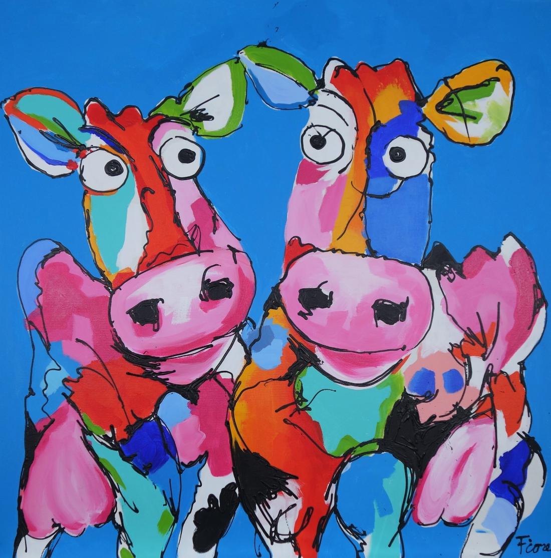 Schilderij koeien 100x100
