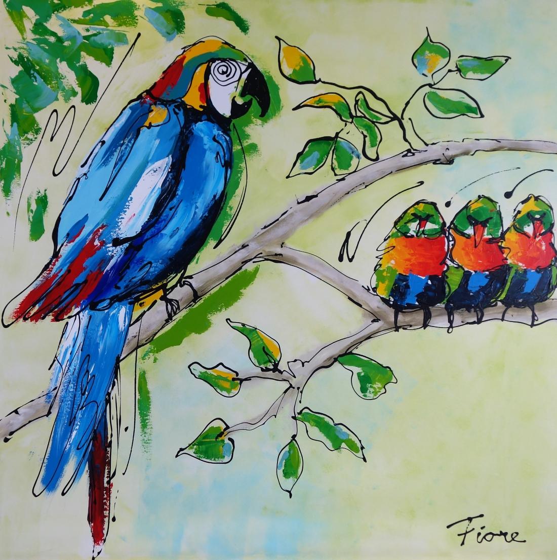 Schilderij vogeltjes 100x100