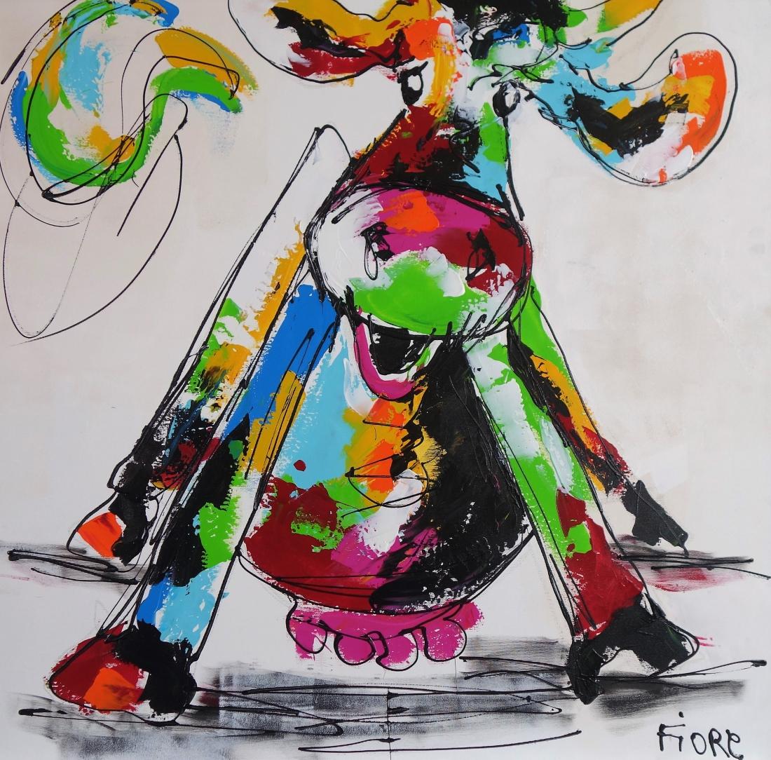 Schilderij koe 100x100
