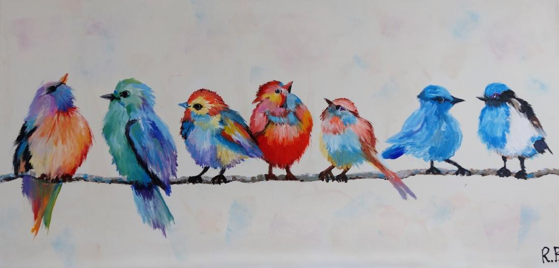 Schilderij vogels 60x120