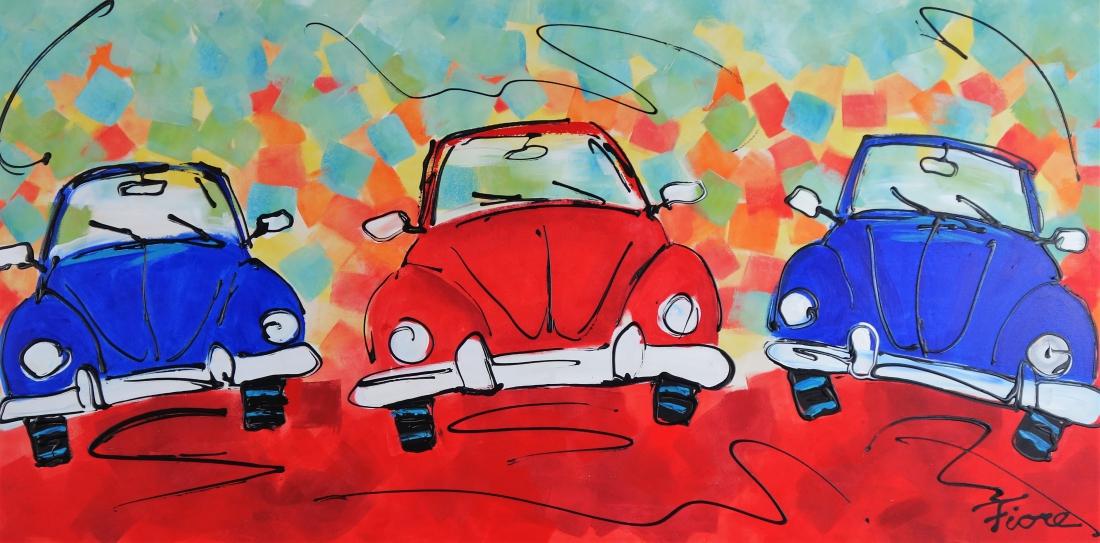 Schilderij auto Kever 70x140