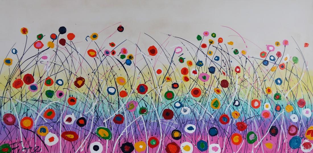 Schilderij kleurrijke bloemen 70x140