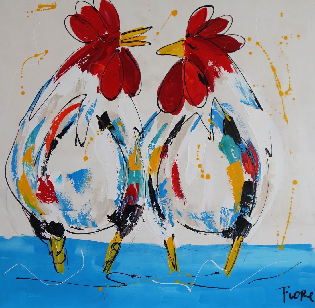 Schilderij kippen 100x100