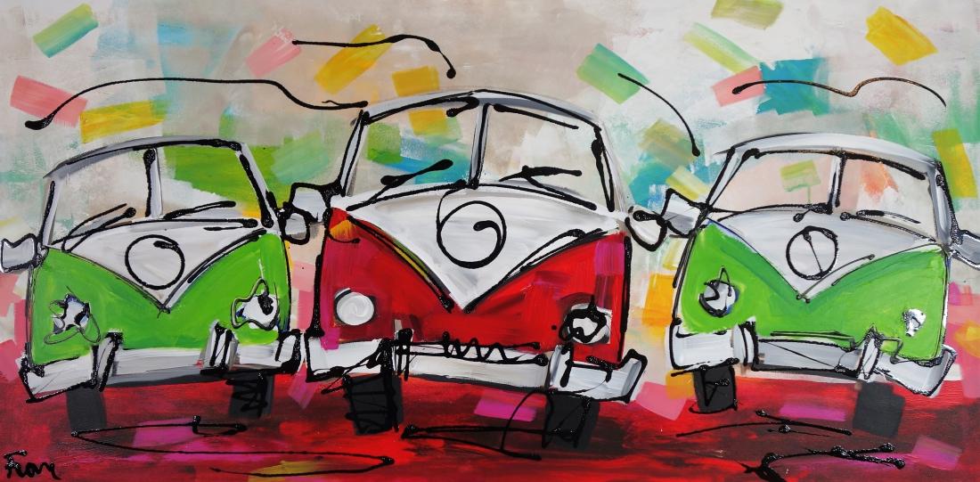 Schilderij volkswagen bus 70x140