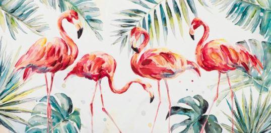 Schilderij flamingo's 70x140