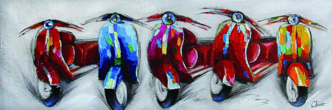 schilderij scooters 50x150