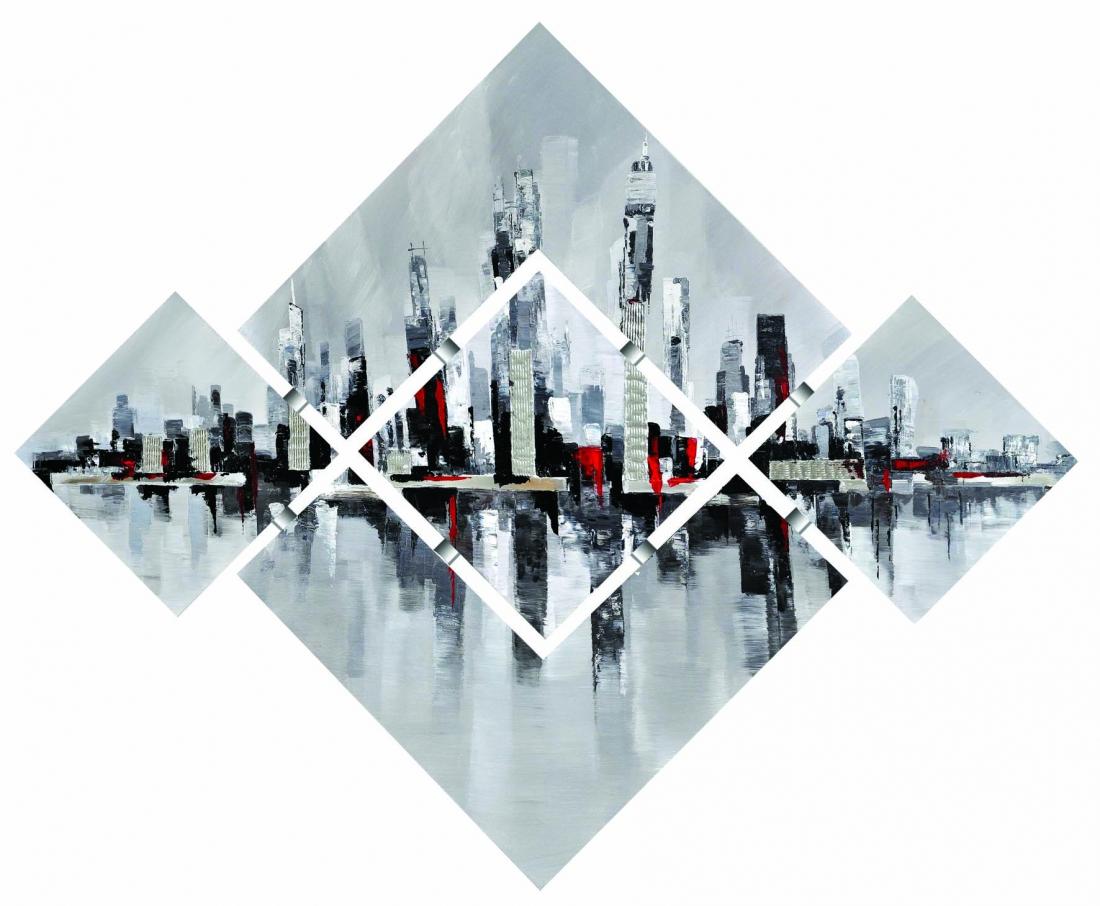 5 luik schilderij modern skyline 135x176 Nieuw!!