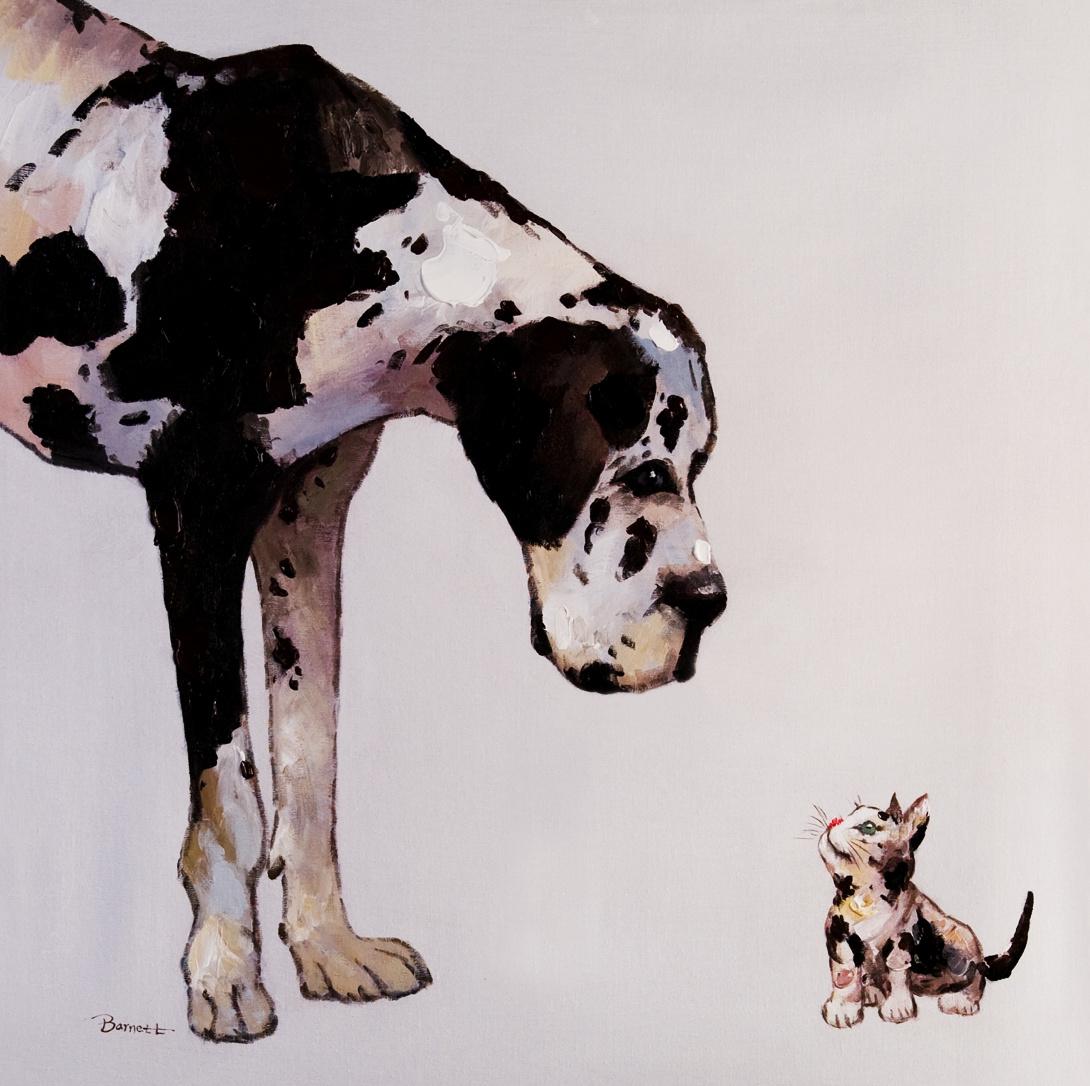 schilderij hond met kat 100x100