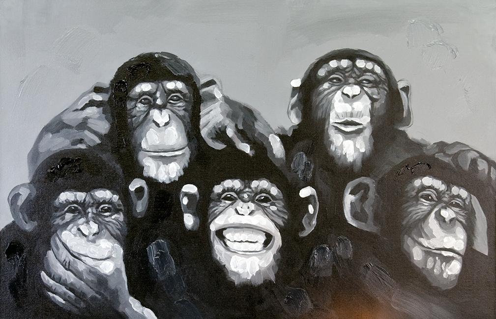 schilderij monkeys 80x120