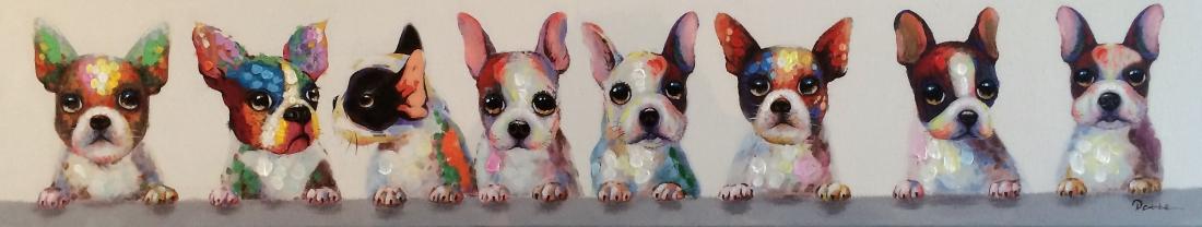 schilderij hondjes 25x150