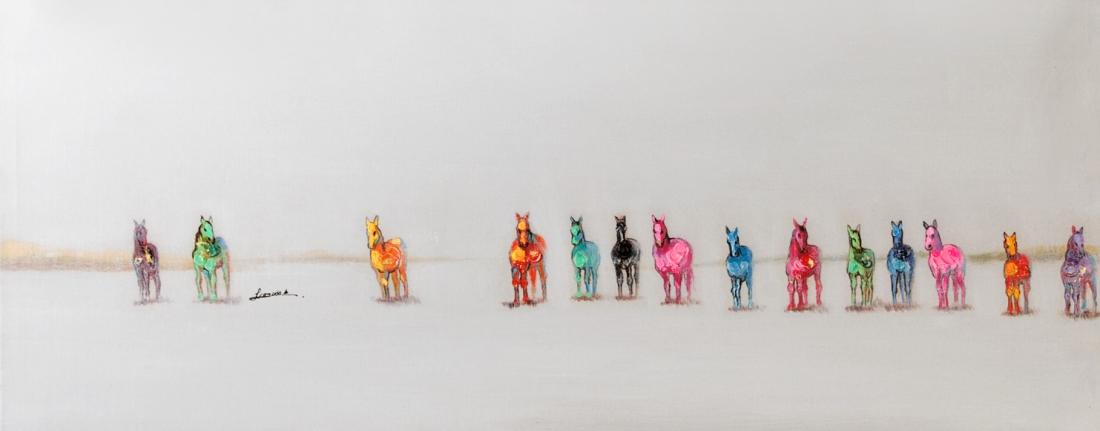 schilderij gekleurde paarden 40x120