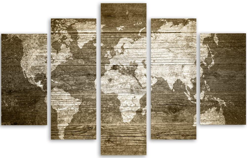 Meerluik schilderij wereldkaart 100x150